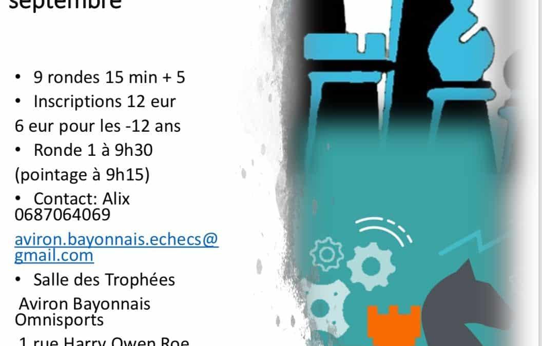 TOURNOI DE RAPIDE HOMOLOGUE FIDE LE 22 SEPTEMBRE 2019