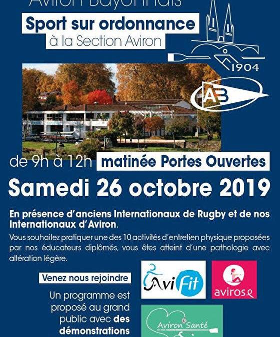 Portes ouvertes de l'Aviron Bayonnais samedi 26 octobre matin
