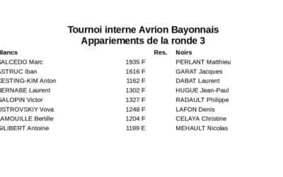 Tournoi interne 2019-2020 ronde 3